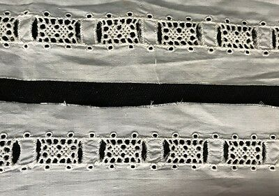 """Old Broderie Anglaise Cotton Lace Trim Insert with Slit for Ribbon, 99  x 1 3/4"""""""