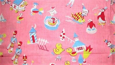 Vtg 35X47 Pink W Duck Horse Cat Dog Child's Novelty Feed Sack Fabric Quilt Craft