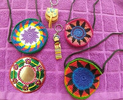 Mexican Coin Purses Leather Keychains Mini Doll Handmade Mirror Souvenirs Crafts