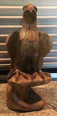 Vintage Hand Carved Wooden Eagle Made In Philippines Folk Art