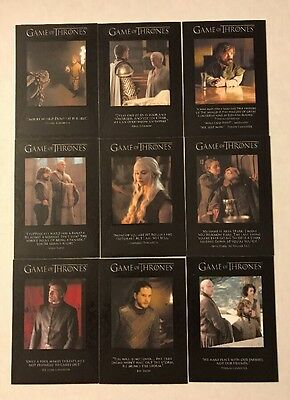 2017 Game of Thrones Season 6 Quotable's  Insert Sets Complete