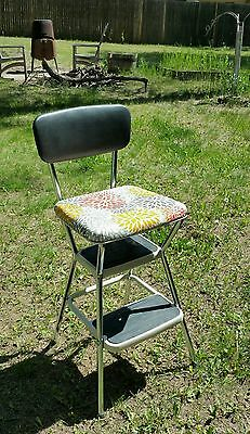 Vintage Mid Century Cosco Step Stool Kitchen Counter Chair Fold Flip Up Seat