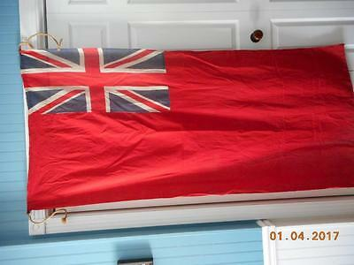 antique 32x 68 BRITISH SHIP SEWN HESSIAN RED ENSIGN FLAG UNION JACK boat yacht