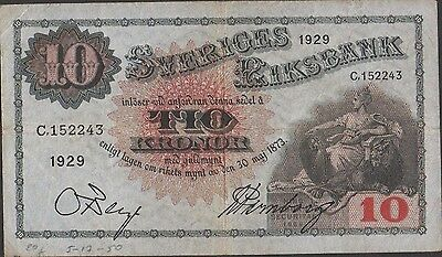 Sweden 10 kronor 1929  P 34j  Prefix C Circulated Banknote