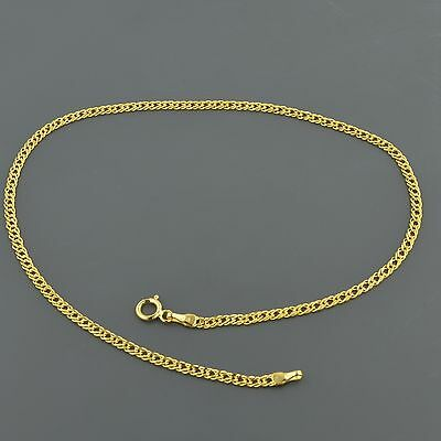 "10K Yellow Gold 2.0Mm Double Curb Link 10"" Anklet Free Shipping"