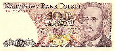 Poland 100 Zlotych 1.6.1986 P 143e Prefix NW Uncirculated Banknote G 11