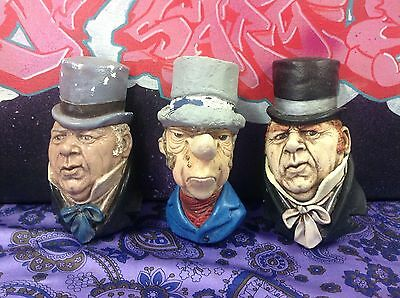 Bulk Lot 3 Vintage Chalkware Bossons Head Style Retro Wall Hanging Plaque