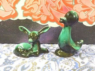 Pair Vintage Blue Mountain Pottery Canada Deer Doe Bambi Duck Animal Retro