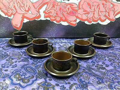 Vintage Arabia Finland Retro Ruska Coffee Set for 5 - 10 pieces