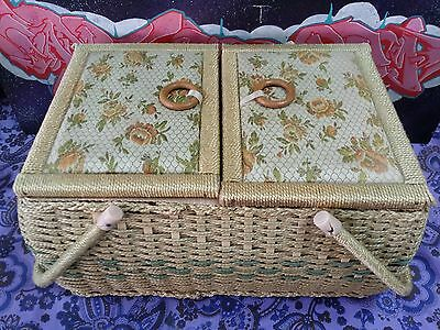 Extra Large Vintage Retro Woven Cane Sewing Box with Tray 38cm