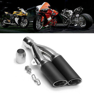 Universal Motorcycle 38-51mm Dual Outlet Exhaust Muffler Tail Vent Pipe Slip On