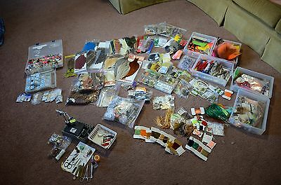 Huge lot of Fly Tying Materials, Tools, and Hooks (Whiting, Renzetti, TMC)