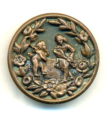 Large Antique Picture Button - CUPID AND ERATO, bbb