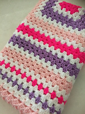 New Handmade Crochet  Baby Blanket - GIFT - girl Pink and Purple