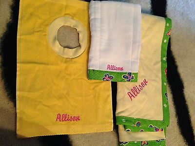 Set Baby Blanket Monogrammed Allison Bib Burp Rag Cloth New Butterflies Flowers