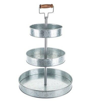 Three-Tier Galvanized Metal Tray Stand Outdoor Indoor Serveware No Tax