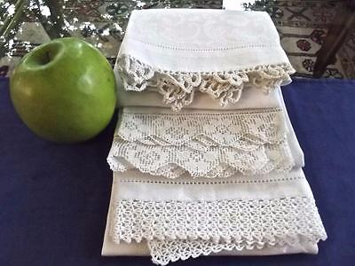 3 Antique White Huck Linen Bath Face Shaving Towels Crochet Lace Damask Cherries