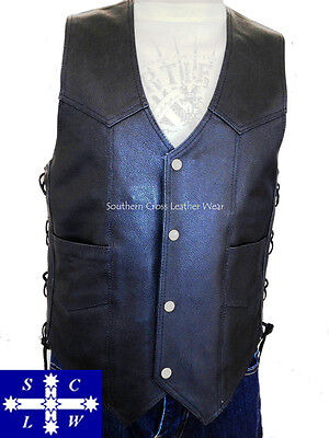 Men's Leather Motorcycle Vest with Stud Buttons Size XS-6XL