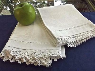 2 Antique White Huck Linen Damask Bows Bath Spa Show Towels Crochet Lace 18x31""