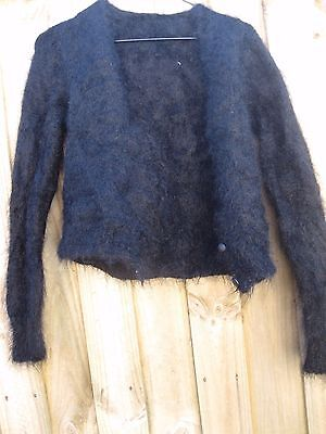 VINTAGE 80s 90s  BLACK MOHAIR CROPPED CARDIGAN