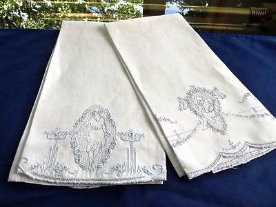 2 Antique Linen Bridal Guest Towels Blue Appenzell Embroidered Maiden & Cherub