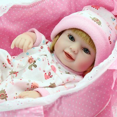 "10"" Handmade Cradle Girl Doll Lifelike Full Body Soft Vinyl Silicone Baby Dolls"