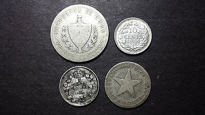 Early 1900's World Silver Coin Lot - 4 Silver Coins