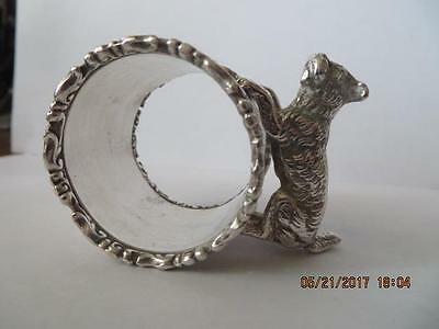 Antique 1800's Early 1900's SilverPlated Napkin Ring Figural Jumping, Floral #54