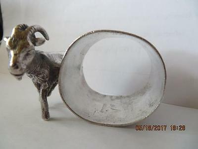 Antique 1900's Silver Plated Napkin Ring, Billy Goat/Ram & Flowers on N/R ,  #49