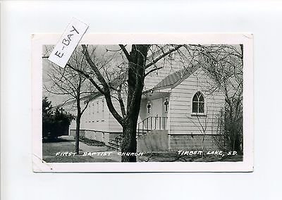 Timber Lake SD (Dewey County) RPPC real photo 1969 First Baptist Church, rd msg