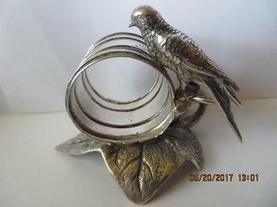 Antique 1900's Silver Plated Napkin Ring Doubled Winged Bird, Rodger Bros. ?02