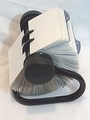 Rolodex Open Rotary 2x4 Business Card Organizer Black Metal Stand Cards Dividers