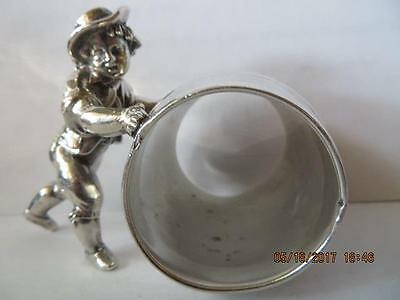 Antique 1900s SilverPlated Napkin Ring Old Meriden Figural Pushing Barrel #171