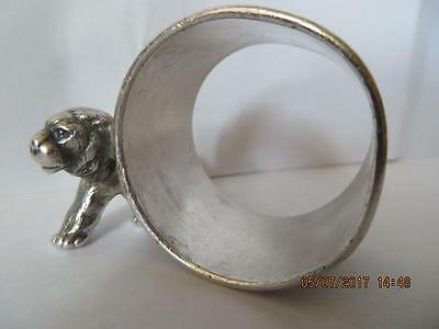 Victorian 1900's Silver Plated Napkin Ring Lion Walking Next to N/R No Info. #47