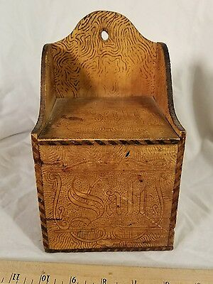 Vintage Antique Primitive Wooden Salt Box Wall Mounted Beautiful Burned Wood