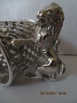 Antique Silver Plated Napkin Ring Lion Standing, Holding N/R, With Claws,   #31