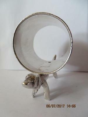 Antique 1900,s Silver Plated Napkin Ring Dachshund, Weiner Dog , Floral Ring #44