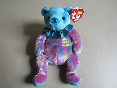 TY Beanie Babies B-Day Collection- December- Turquoise - With Hang & Tush tags