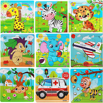 Zoo Animals Jigsaw Wooden Matching Peg Puzzle Early Educational Toys Kids Child