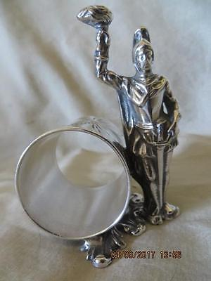 Victorian 1900 Silver Plated Napkin Ring Roman Soldier Holding Flaming Torch #11
