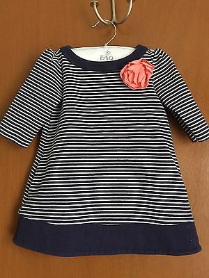 PRE-OWNED JANIE & JACK Toddler Girl 2T Navy White Striped Dress
