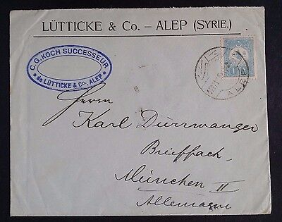 RARE c. 1910 Turkey Lütticke & Co Cover ties 1 Pia blue  stamp canc Alep
