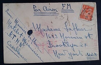 "SCARCE 1945 Morocco Airmail Cover ties 3Fr stamp ""Navy Post"" cancel to New York"