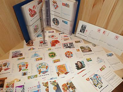 Collection of 250 postcards USSR + RUSSIA stamps of origin design 1974-2002