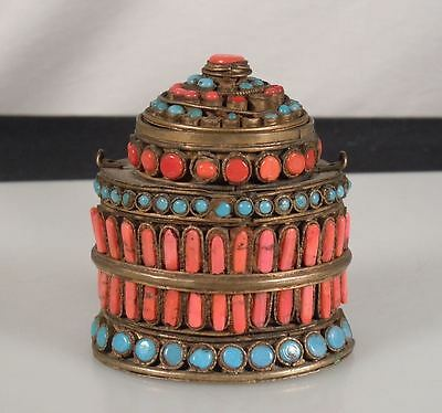 Vintage Coral, Turquoise Brass Box Inkwell -Nepal/Tibet