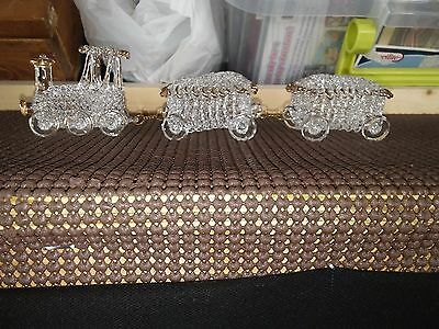 Hand Blown / Spun Glass Crystal 3 Piece Train Set Trimmed In Gold