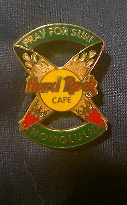 """Hard Rock Cafe HONOLULU 1990s """"Pray for Surf"""" Crossed Surfboards Pin"""
