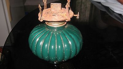 Vintage Dark Green Glass Kerosene  Lamp Base Made In Usa