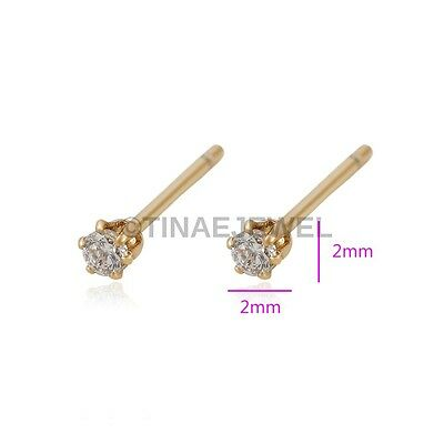 2mm | 18K Gold Plated Copper Stud Earrings with Cubic Zirconia E010