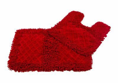 Monet Bath mat 2 PC Set RED 100% COTTON Bathroom rug SHAGGY NOODLE